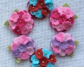 New Mixed Colors Wool Felt Mini Hydrangeas