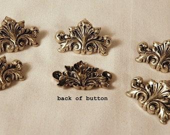 6 Handsome Silver Escutcheon Buttons 38mm