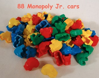88 Monopoly Junior Car Game Pieces Red Yellow Blue Green