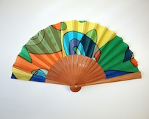 Handpainted Silk hand fan-Wedding hand fan-Giveaways-Bridesmaids-Spanish hand fan 14 x 7.5 inches (35 cm x 19 cm)