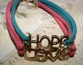 Suede Bracelet, Pink Bracelet, Blue Bracelet, Love Bracelet, Hope Bracelet, Double Strand Bracelet, Teen Bracelet, Women's Bracelet