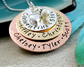 Family Name Necklace - Layered Mother Necklace - Grandmother Necklace - Mixed Metal Layered Necklace -  Personalized Jewelry - Family Names