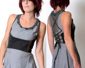 SALE Grey underbust belt, Steampunk bustier with lace-up at back and studded stripe - grey and army green cotton - sz S or M