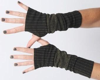 Black and golden arm warmers, Jersey armwarmers, Black and Golden fingerless gloves, Long golden gloves, Golden glitter wrist warmers