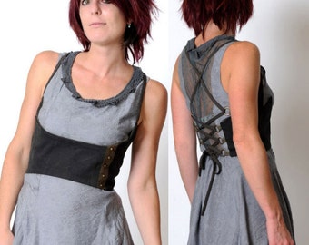 Grey underbust belt, Steampunk bustier with lace-up at back and studded stripe - grey and army green cotton - sz S or M