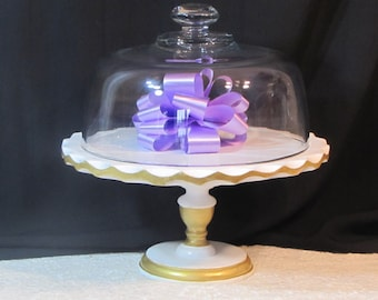 White Gold Glass Covered Cake Plate Hollywood Regency Glamour Wedding Chic on sale
