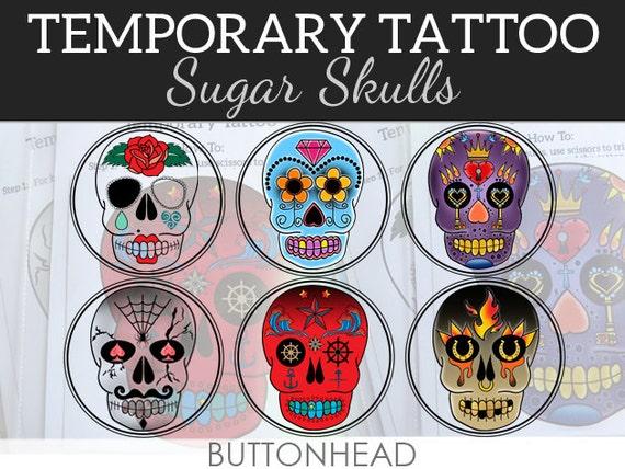 6 Sugar Skull Temporary Tattoos - Day of the Dead - Día de los Muertos Decorations Party Favors