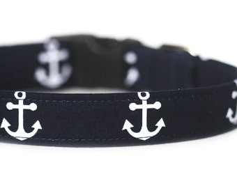 Nautical Dog Collar, Anchor Collar, Blue and White Collar, Anchors Away, Personalization Available
