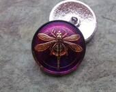 Large Czech glass button Dragonfly purple gold
