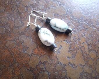 Snowbank Wood and Tree Agate Beaded earrings
