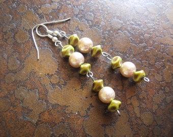 Elegant Sage Pearl and Plastic Beaded Dangle earrings
