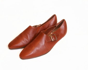Vintage 1980s Leather Ankle Buckle Boot Loafers size 7 1/2