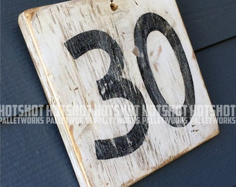 30, Thirty, Milestone age, Anniversary, Special number, Scoreboard style, Vintage-looking upcycled wood sign, hand made, hand painted