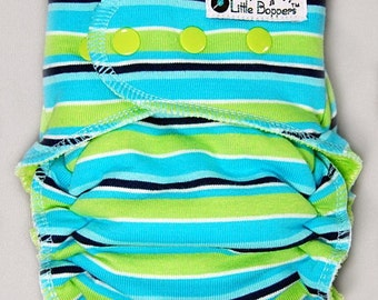 Cloth Diaper or Cover Custom Made - Fresh Stripes - You Pick Size and Style - Made to Order Nappy or Wrap - Aqua Lime Striped