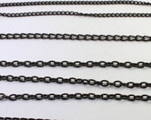 Black Painted Curb and Oval Link Chain Pieces, Unfinished Chain, Wholesale Bead Findings