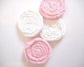 PIF - FREE SHIPPING -  Pink and White Rolled Fabric Flowers