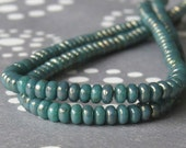 3mm Turquoise Bronze Picasso Czech  Glass Bead Rondelle Spacer : 100 pc Turquoise Rondelle Beads