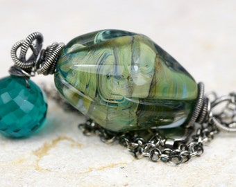 Wire Wrapped Necklace, Gemstone Necklace, Lampwork Necklace, Glass Necklace, Aquz Quartz Necklace, Artisan Necklace