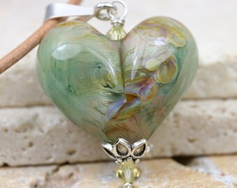 Lampwork Heart - Glass Heart - Heart Necklace - Heart Pendant - Artisan Pendant - Green Heart Pendant - Glass Heart Pendant