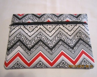 """8"""" Cosmetic Bag / Make Up Bag / Pencil Pouch - Chevron (black, grey, red and white)*"""