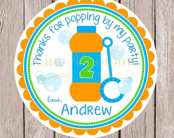 Bubbles Birthday Party Favor Tags or Stickers / Orange, Blue & Green Tags or Stickers / Cute Party Favor for a Summer Party / Set of 12