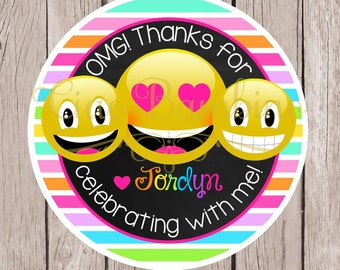 Emoji Birthday Party Favor Tags or Stickers / Personalized Favor Tags with Emojis, Smiley Face, LOL / Perfect for Teens & Tweens / Set of 12