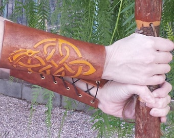 Hand Tooled Leather Bracers (pair)- Celtic Gold Dragon with brown background