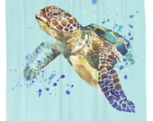 Turtle Splash, Sea Turtle Shower Curtain, Printed in USA