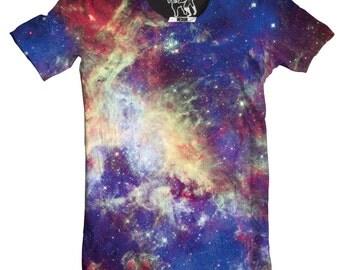 Tarantula Nebula Men's Tee, Cool Outer Space T-Shirt, Cosmos Graphic Tee, Stars, Planet, Galactic Science Crewnack, S-2XL