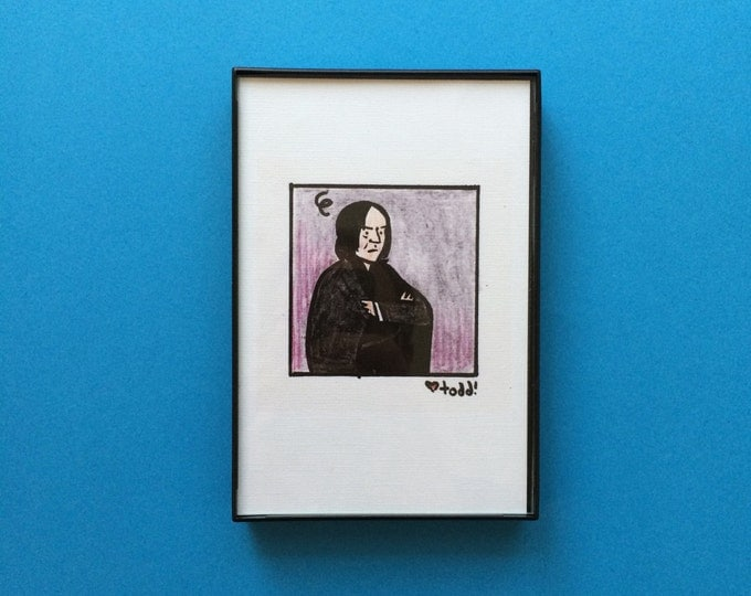 Art, Harry Potter, Professor Severus Snape, 4 x 6 inch Print, J.K. Rowling, Crayon Drawing, Movies, Pop Culture, Alan Rickman