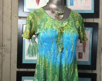 Fall sale 1990s tunic tie dyed blouse vintage shirt size small trapeze blouse green blouse 90s blouse hippie shirt