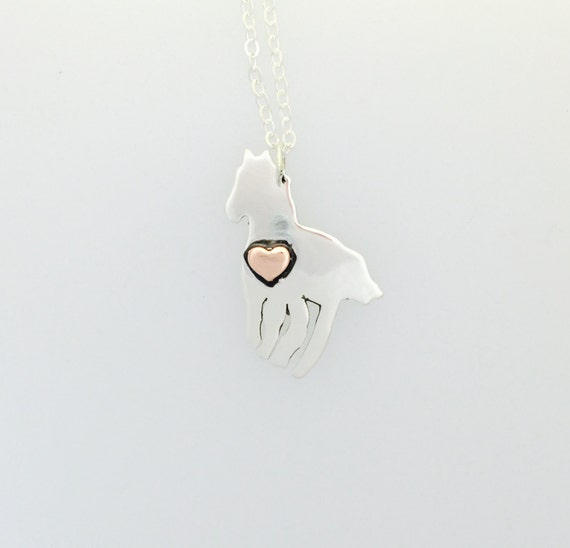 Horse with Copper Heart necklace- vegan necklace- horse necklace- vegan gift birthday-anniversary-gift-horse lover-Valentines Day