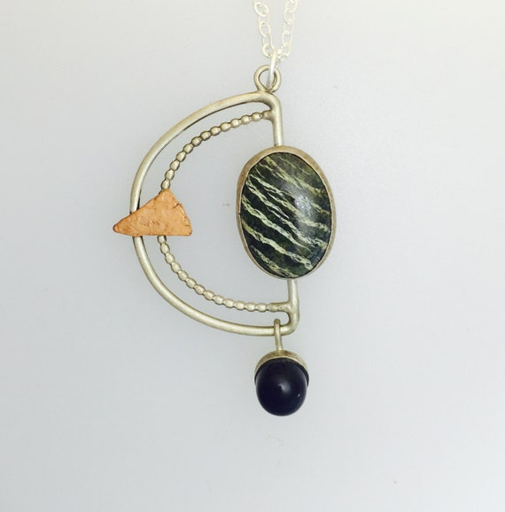 OOAK Zebra Dolomite and Amethyst Geometric necklace-art jewelry-gift-birthday-anniversary