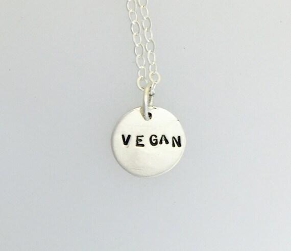 Vegan charm in recycled sterling-vegan necklace-vegan jewelry-charm necklace-vegan gift- birthday-anniversary