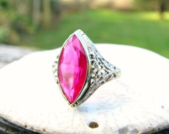Art Deco Ruby Filigree Ring, Striking Marquise Shaped Ruby, Lacy Filigree in 14K White Gold with Flower Blossoms