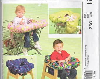 McCalls 5721 Baby Grocery Shopping Cart Highchair Seat Cover Tote Sewing Pattern One Size Out of Print UNCUT