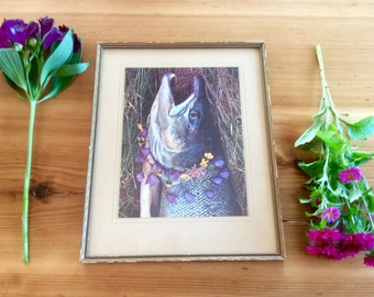 Nature Hippie Wall Art. 1970 Scandinavian Photograph Print. Boho Style. Fish, Flowers Nature Art, Gold Frame. Oddball Folk Art.