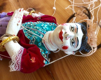 Old Burmese Marionette. Vintage String Puppet. Large Painted Carved Wood Marionette, Jointed Limbs. Dolls & Puppets. Siam, Thailand, Burma.