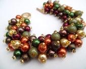 Fall Theme Bracelet, Fall Jewelry, Autumn Colours, Pearl Beaded Bracelet, Cluster Bracelet, Chunky Bracelet, Burnt Orange, Sage Green, Gold