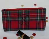 Monogram Clutch Purse in Black Plaid, Personalized cosmetic bag, Personalized Bridesmaid Gift, Personalized Gift for Women