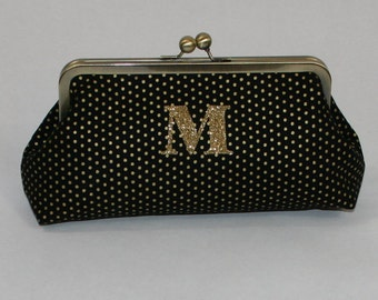 Monogram Clutch Gift For Her Bridesmaid Gift Set Purse Custom Metallic Christmas Gift Black Metallic Gift Cosmetic Bag