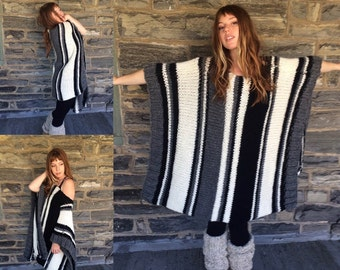 plus size sweater/  OVERSIZE PONCHO/ oversize sweater plus size poncho/ knit  poncho/ knit sweater/ boho poncho/ womens sweater