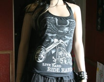 Drive Hard Ride Hard Motorcycle tank top halter neck upcycled small medium large xlarge plus size 2xl