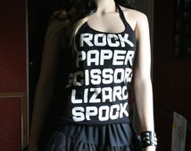 Rock Paper Scissors Lizard Spock tank top halter neck upcycled small