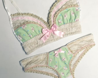 Kitten Mint & Pink with Cream/Gold Lace Bra - Pick Your Size - LIMITED EDITION - Handmade Vegan Bridal