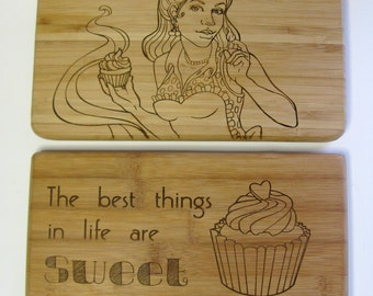 Pin-Up Cupcake Baker & The Best Things in Life are Sweet Laser Engraved Bamboo Cutting Boards