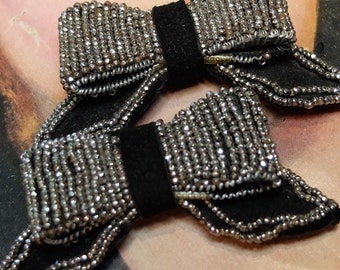 Vintage Micro Steel Bead Bow Shaped Shoe Clips