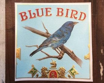 Vintage Cigar Box Labels Blue Bird Ephemera Advertising