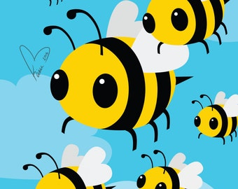 BEES! - Medium or Small Art Print