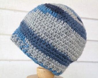 On Sale Navy Blue and Gray Newborn Winter Baby Beanie